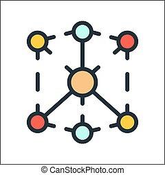 distribución, canal, icono, color