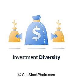 distribución, financiero, finanzas, allocation, cuenta, fondo, diversificación, dividir, regreso, dirección, inversión, ventaja