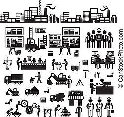 distribuidor, fabricante, icono