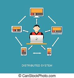 distributed, conceito, tecnologia, sistema, illustration.