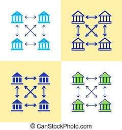 Distributed ledger icon set in flat and line style. Blockchain technology concept. Vector illustration.