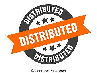 distributed sign. round ribbon sticker. isolated tag
