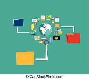 distribution., 移動, sharing., 内容, ファイル, データ, concept., ...
