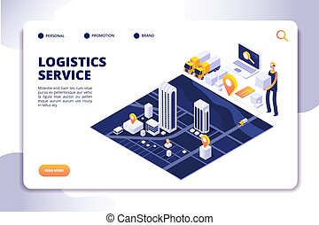 Distribution and logistics isometric concept. Global sipping...