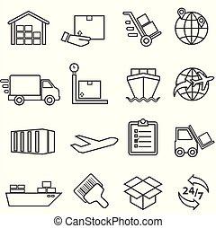 distribution, cargaison, icônes, livraison, fret, expédition, entrepôt, ligne