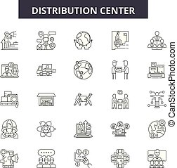 Distribution center line icons, signs set, vector. Distribution center outline concept, illustration: distribution,warehouse,center,business,delivery,cargo,symbol