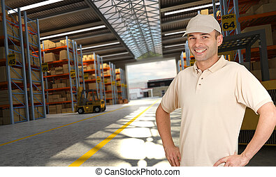 Smiling worker in a distribution warehouse