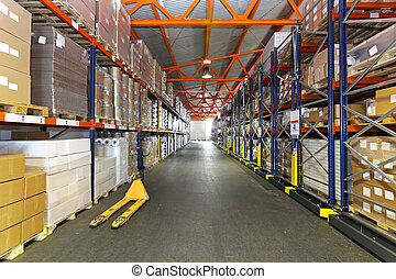 Distribution centre - Long corridor with shelving system in...