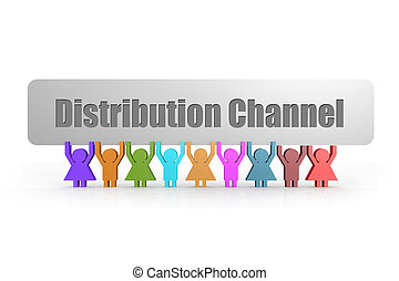 Distribution Channel word on a banner hold by group of puppets