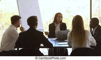 distribution, conversation, équipe, tâches, éditorial, constitué, briefing, pendant, femme