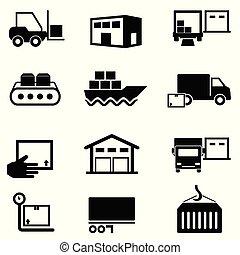 distribution, fourniture, icônes, expédition, chaîne, logistique, entreposage