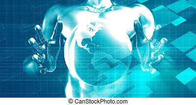 distribution, global, système