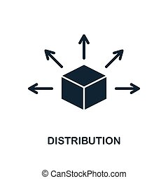 Distribution icon. Monochrome style design from blockchain icon collection. UI and UX. Pixel perfect distribution icon. For web design, apps, software, print usage.