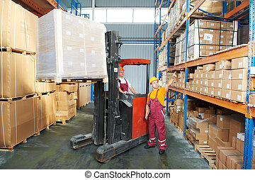 distribution in warehouse with forklift