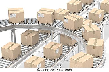 Distribution. - Industrial Roller Conveyor with cardboard ...