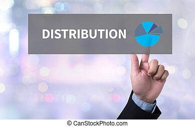 DISTRIBUTION man pushing (touching) virtual web browser ...