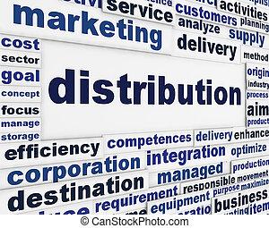 Distribution marketing message background. Merchandising...