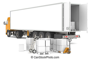 Distribution - Open trailer with pallets, boxes and trucks. ...
