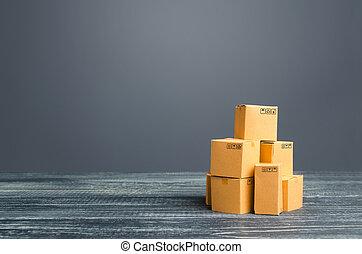 distribution, sales., export., importation, carton, tas, produits, marchandises, affaires détail, fret, marchandises, transportation., stockage, boxes., production, logistique, échange, warehousing., commerce global