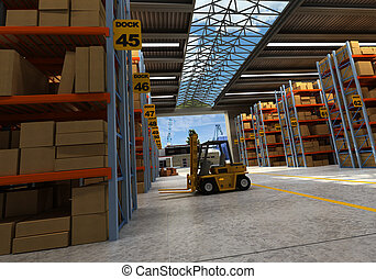 Distribution warehouse - 3D rendering of a distribution ...