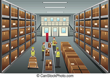 Distribution warehouse - A vector illustration of...