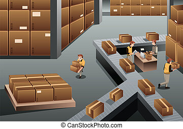 Distribution warehouse - A vector illustration of ...