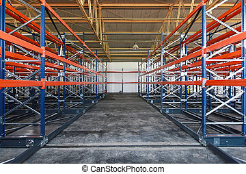 Distribution warehouse - Empty shelves and racks in ...
