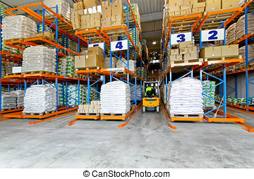 Distribution warehouse interior with racks and shelves