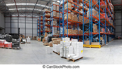 Distribution warehouse with high rack shelving system panorama