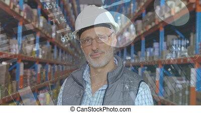 Distribution warehouse worker smiling 4k