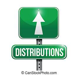 distributions, ontwerp, straat, illustratie, meldingsbord