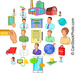Distributive trades icons set, cartoon style - Distributive...