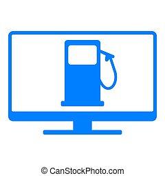 distributore di benzina, schermo