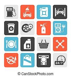 distributore di benzina, servizi, icone