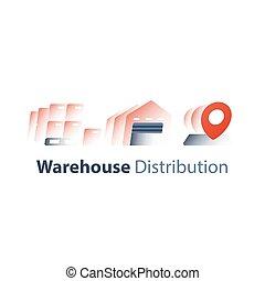 distribuzione, catena, servizio, concetto, vendita ingrosso, fornitura, magazzino, spedizione marittima, magazzino, deposito, ordine
