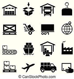 distribuzione, fornitura, icone, spedizione marittima, catena, logistica, immagazzinamento