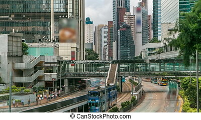 district central, trafic, timelapse, kong., hong kong