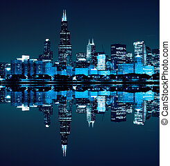 district financier, (night, vue, chicago)