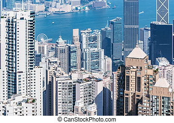 district, hong, central, kong., vue, time., jour
