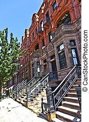 district, maison, -, york., nouveau, harlem, sien, typique