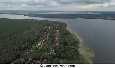 district, mecklenburg, aérien, lac, allemagne, vue