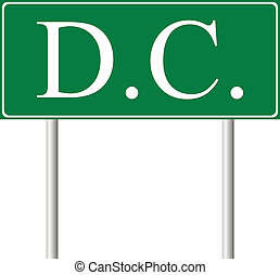 District of Columbia green road sign