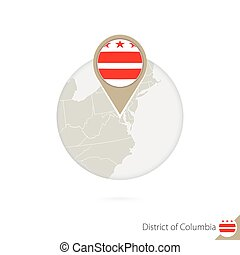 District of Columbia US State map and flag in circle. Map of...