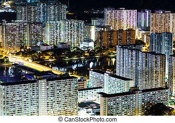 district résidentiel, dans, hong kong