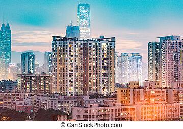 district, soir, ville, shenzhen., time., vue