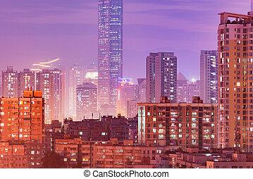 district, soir, ville, shenzhen., time., vue, china.