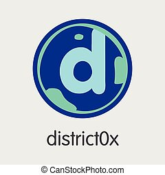 DISTRICT0X Cryptographic Currency - Vector Coin Illustration...
