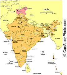 districten, india, secretarieel, omliggend, landen