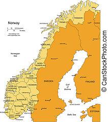 districts, administratif, entourer, norvège, pays