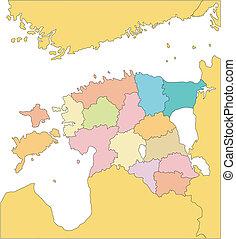 districts, administratif, entourer, pays, estonie